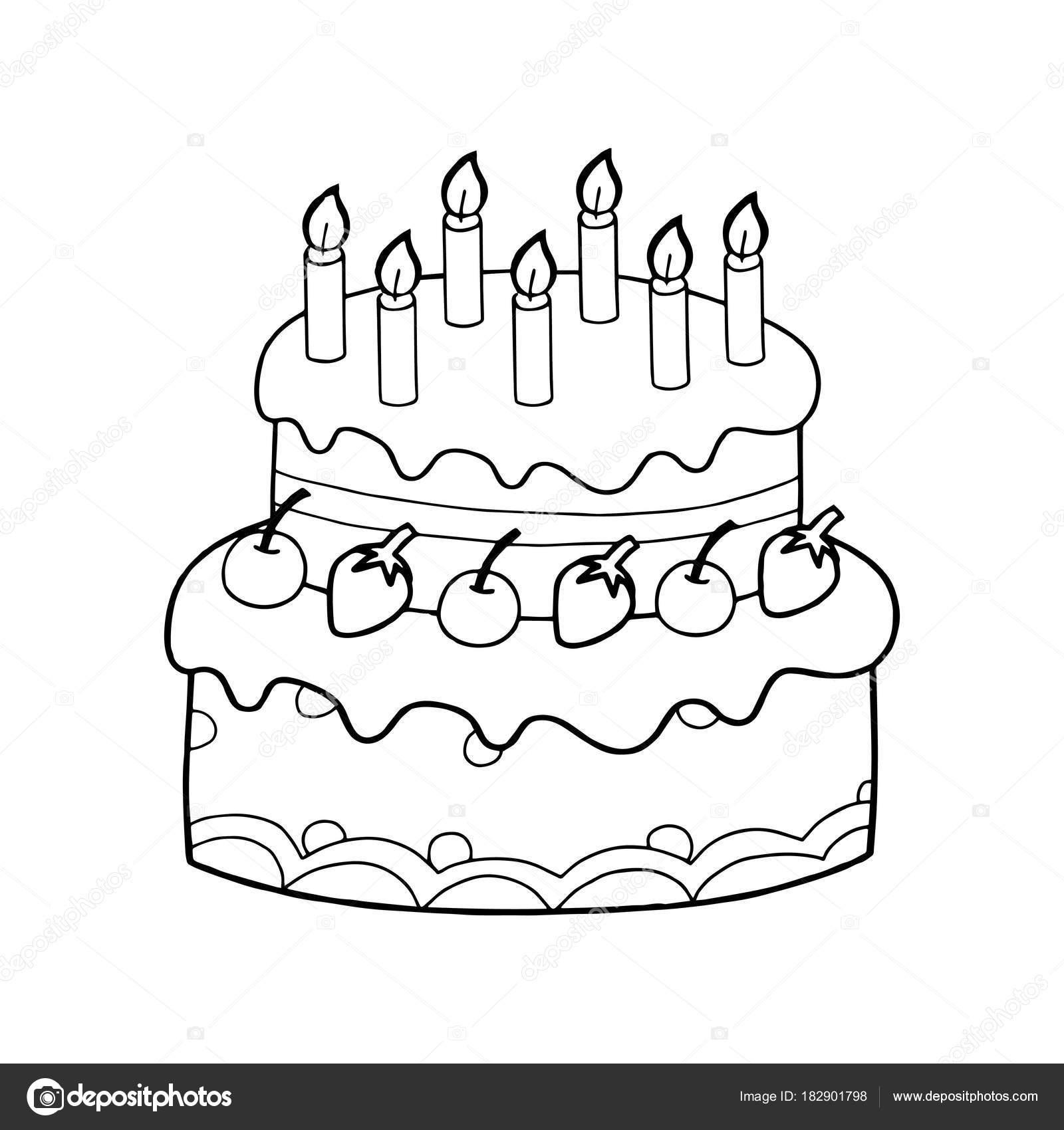 Cute Cartoon Cake White Background Childrens Prints Shirt Color Book Stock Vector C Foxynguyen 182901798