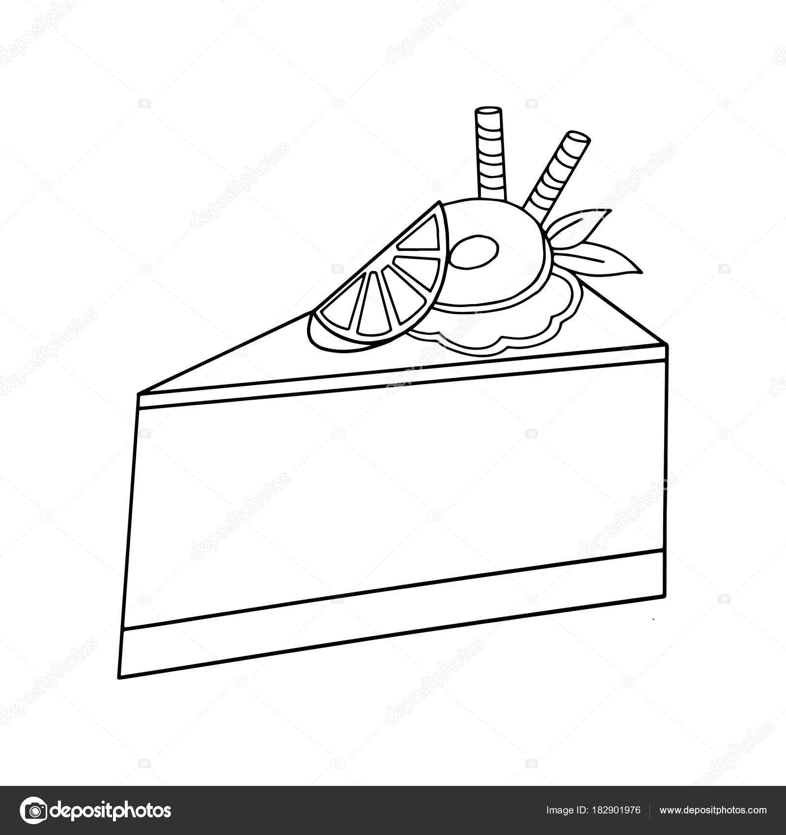 Niedlichen Cartoon Stuck Kuchen Auf Weissem Hintergrund Fur Kinder