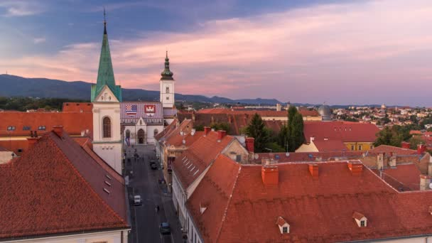 Church of St. Mark day to night timelapse and parliament building Zagreb, Croatia.