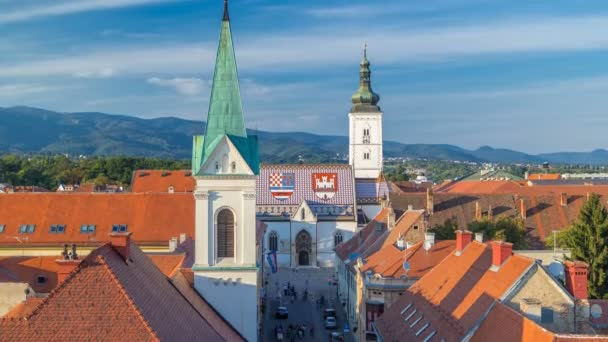 Church of St. Mark timelapse and parliament building Zagreb, Croatia.