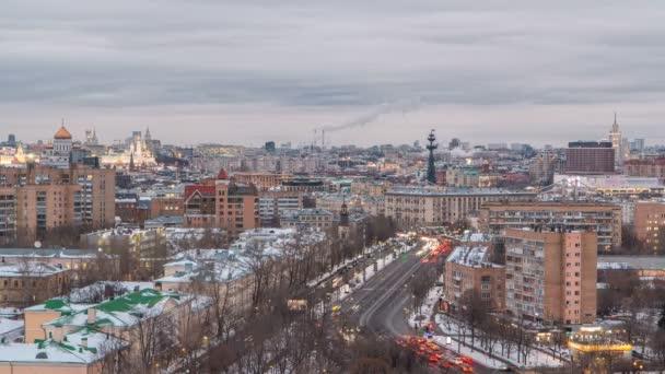 Moscow city Rusko Panorama letecký panoramatický pohled shora den noční timelapse městské zimní snow krajina architektura pozadí