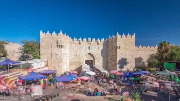 Hyperlapse timelapse damašská brána je jednou z nejlidnatějších východů město v Jeruzaléma.