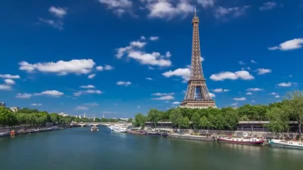 The Eiffel tower timelapse hyperlapse from bridge over the river Seine in Paris