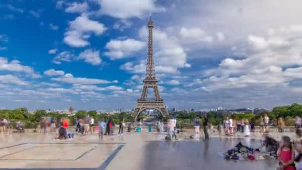 Famous square Trocadero with Eiffel tower in the background timelapse hyperlapse.
