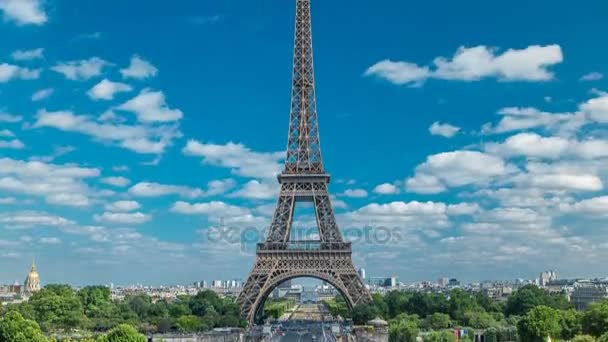 Champ de Mars and the Eiffel Tower timelapse in a sunny summer day. Paris, France