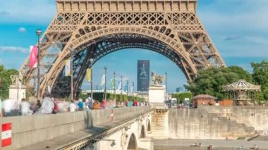Eiffel Tower view from the Bridge of Jena timelapse, Paris, France