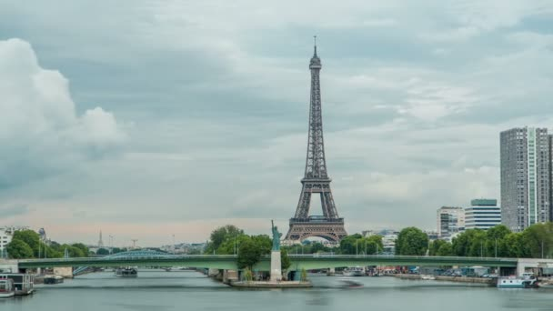 The Statue of Liberty and the Eiffel Tower Timelapse. Paris, France