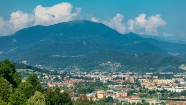 View of medieval Bergamo timelapse - beautiful medieval town in north Italy