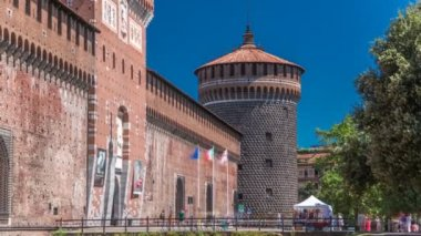 Main entrance to the Sforza Castle and tower - Castello Sforzesco timelapse, Milan, Italy