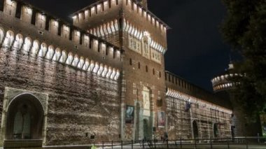 Main entrance to the Sforza Castle and tower - Castello Sforzesco night timelapse, Milan, Italy