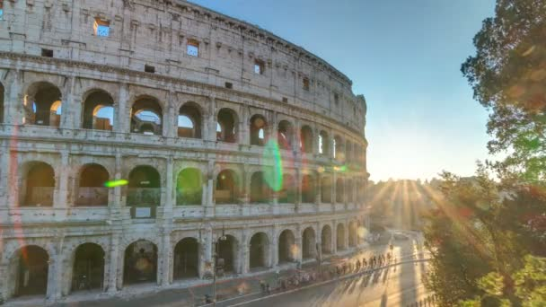 Amphitheater Colosseum view at sunset timelapse top view