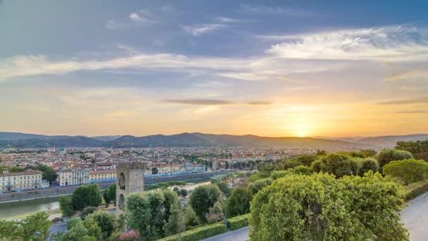 Pohled shora Sunrise timelapse město Florencie s mosty řeku arno a historických budov