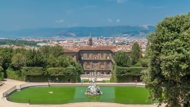 The Boboli Gardens Park Timelapse, Fountain Of Neptune And A Distant View  On The Palazzo