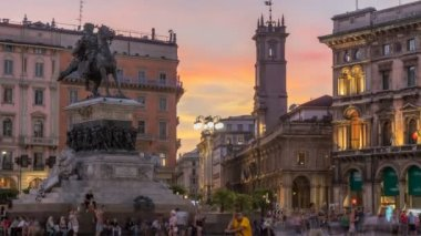 Piazza del Duomo day to night timelapse with Monument to Victor Emmanuel II. Milan, Italy