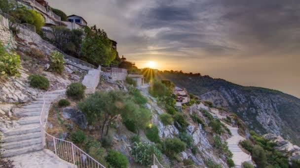 Sunrise timelapse view of the town of Eze village on the French Riviera