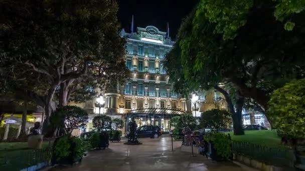 Hotel Hermitage in Monte Carlo night timelapse hyperlapse, Monaco.