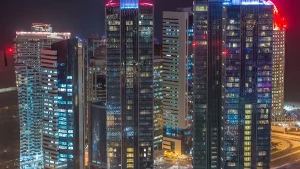 A West Bay terület látképe a katari Doha Timelapse tetejéről.