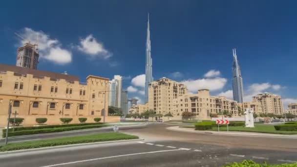 Úžasný výhled na panorama Dubaje timelapse hyperlapse. Rezidenční a obchodní mrakodrapů v centru města