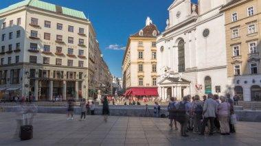 St. Michael's Church timelapse hyperlapse at Michaelerplatz from St. Michael's Gate of Hofburg