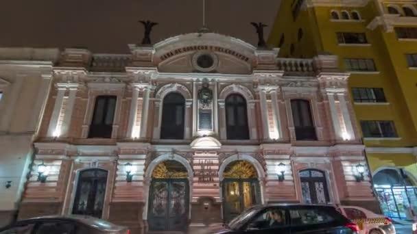 Zentrales Postgebäude nachts beleuchtet Zeitraffer-Hyperlapse, Lima, Peru