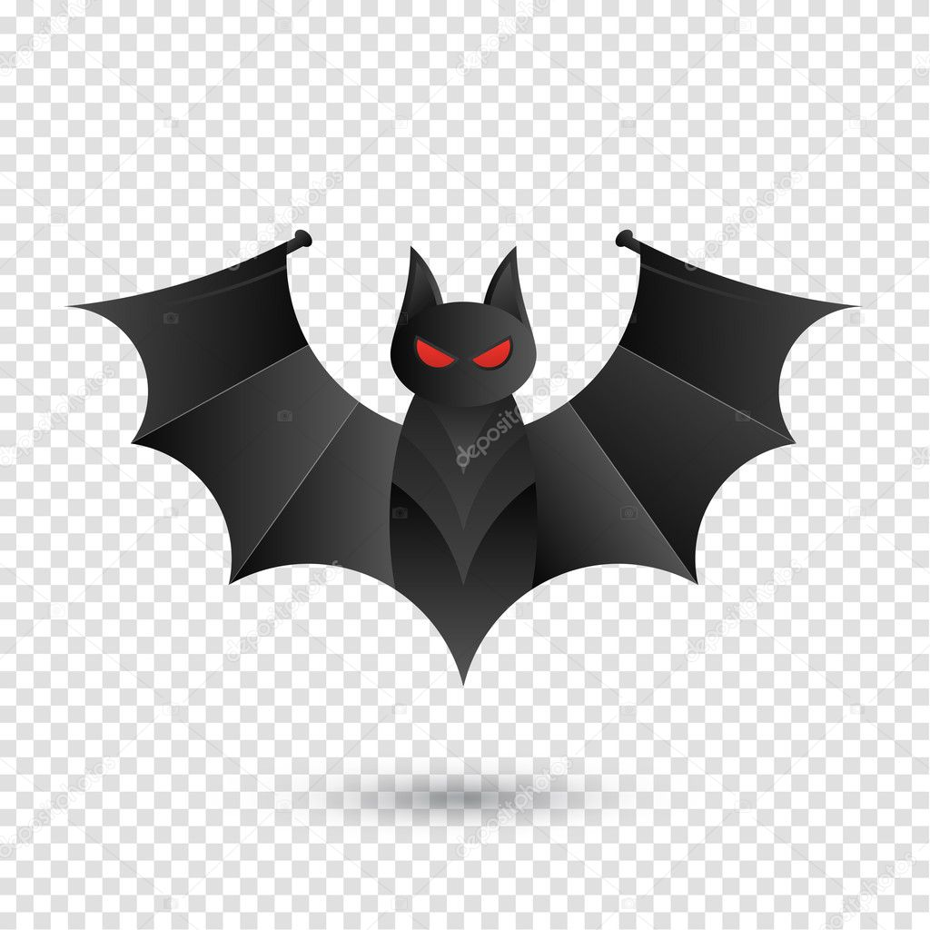 halloween bat icon for horror holiday. isolated on transparent