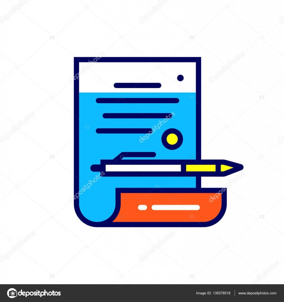 Icono de contrato lineal. Pictograma en el estilo de contorno ...