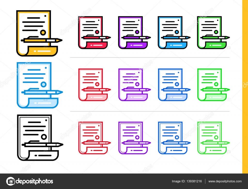 Icono de contrato lineal para negocio Inicio en diferentes colores ...