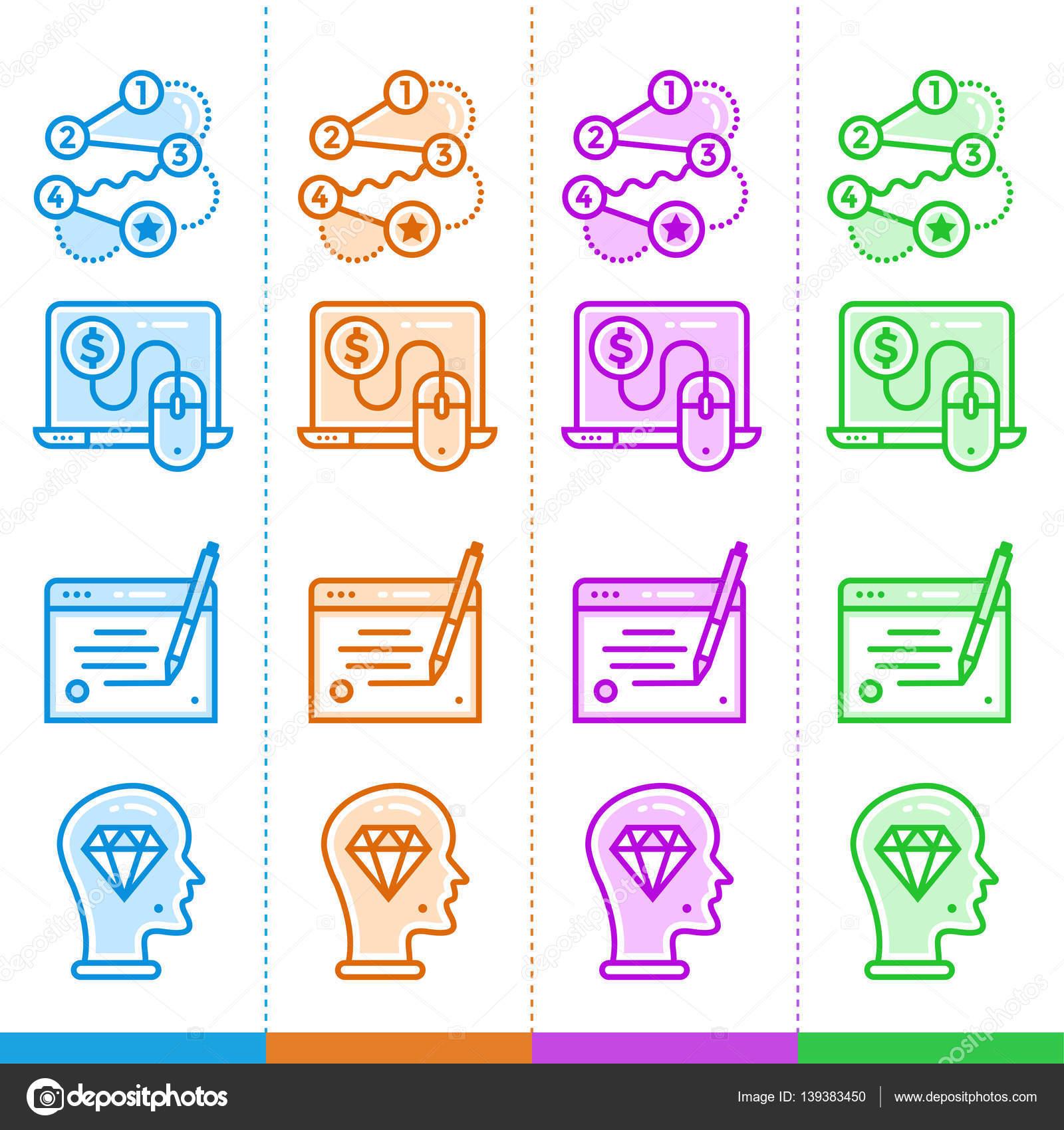 b09998bcdf428 Vector conjunto de iconos lineales para nuevos negocios en diferentes  colores. Conveniente para el sitio