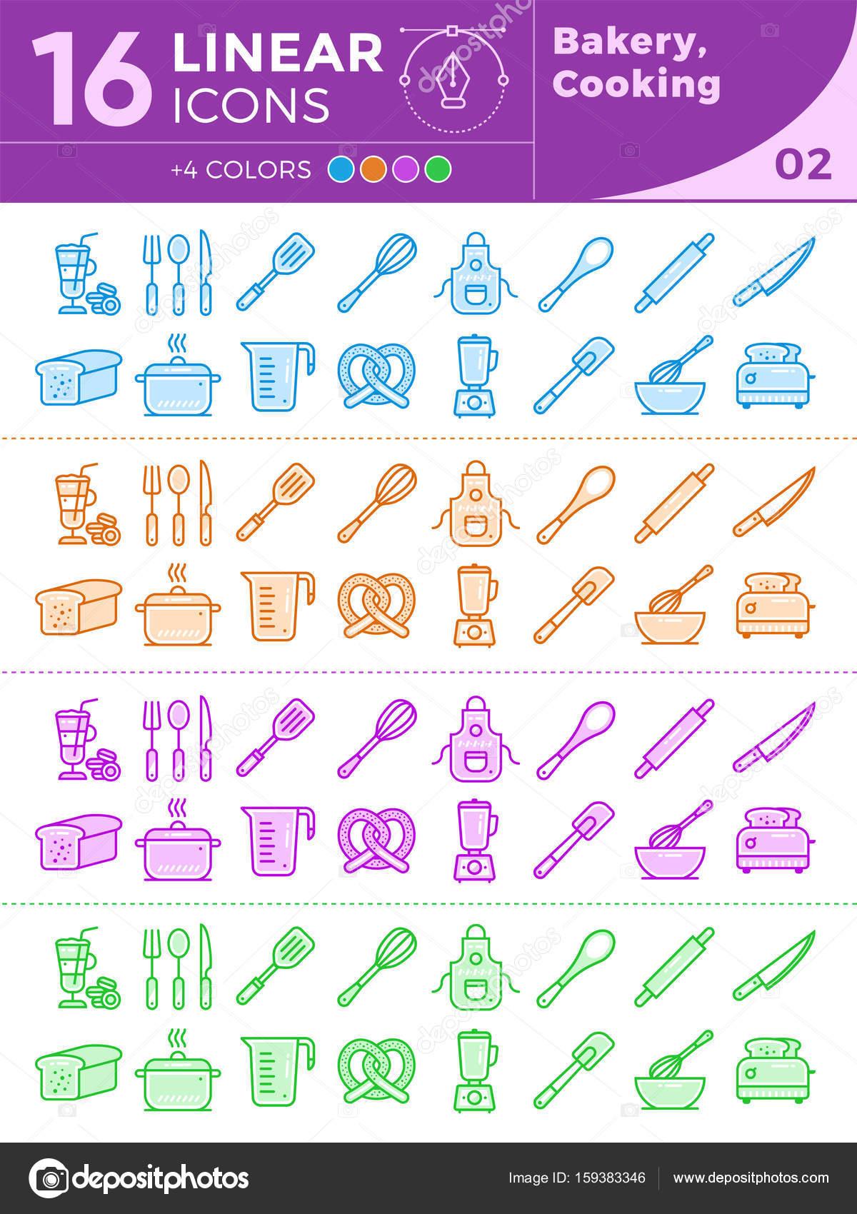 Set di icone uniche lineare di panetteria, cucina. Con ...