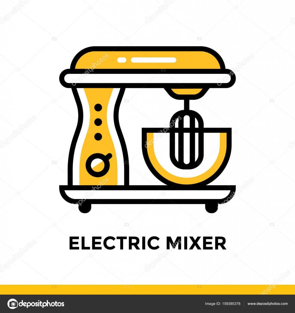 Übersicht-Symbol elektrischen Mixer Bäckerei, kochen. Vektor-Linie ...
