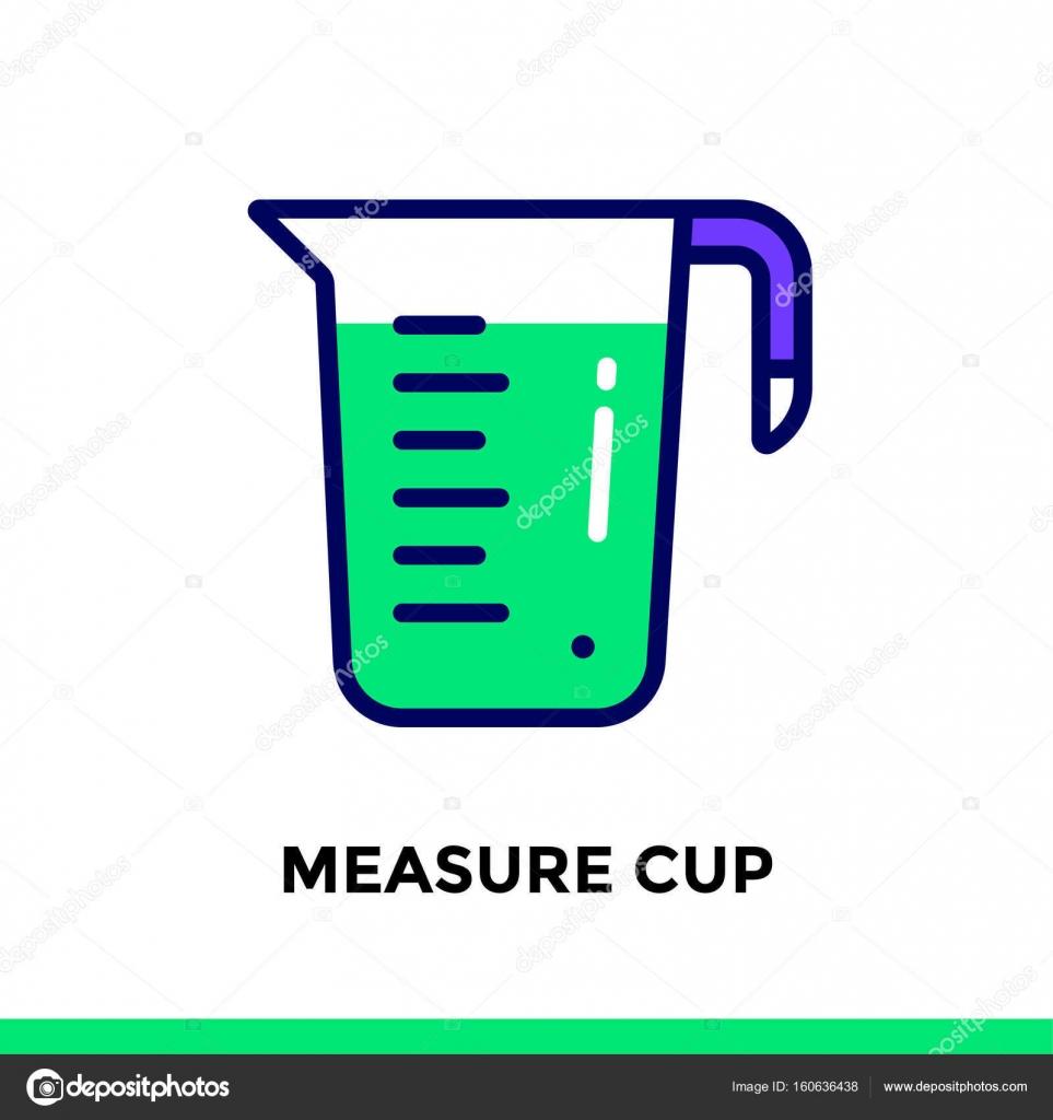 Icono de lineal medida taza de panadería, cocina. Pictograma de ...