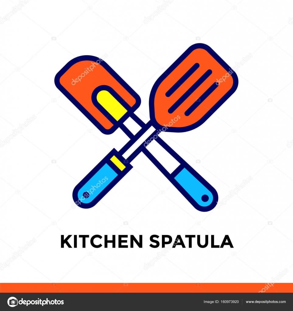 Espátula de cocina lineal icono de panadería, cocina. Pictograma en ...