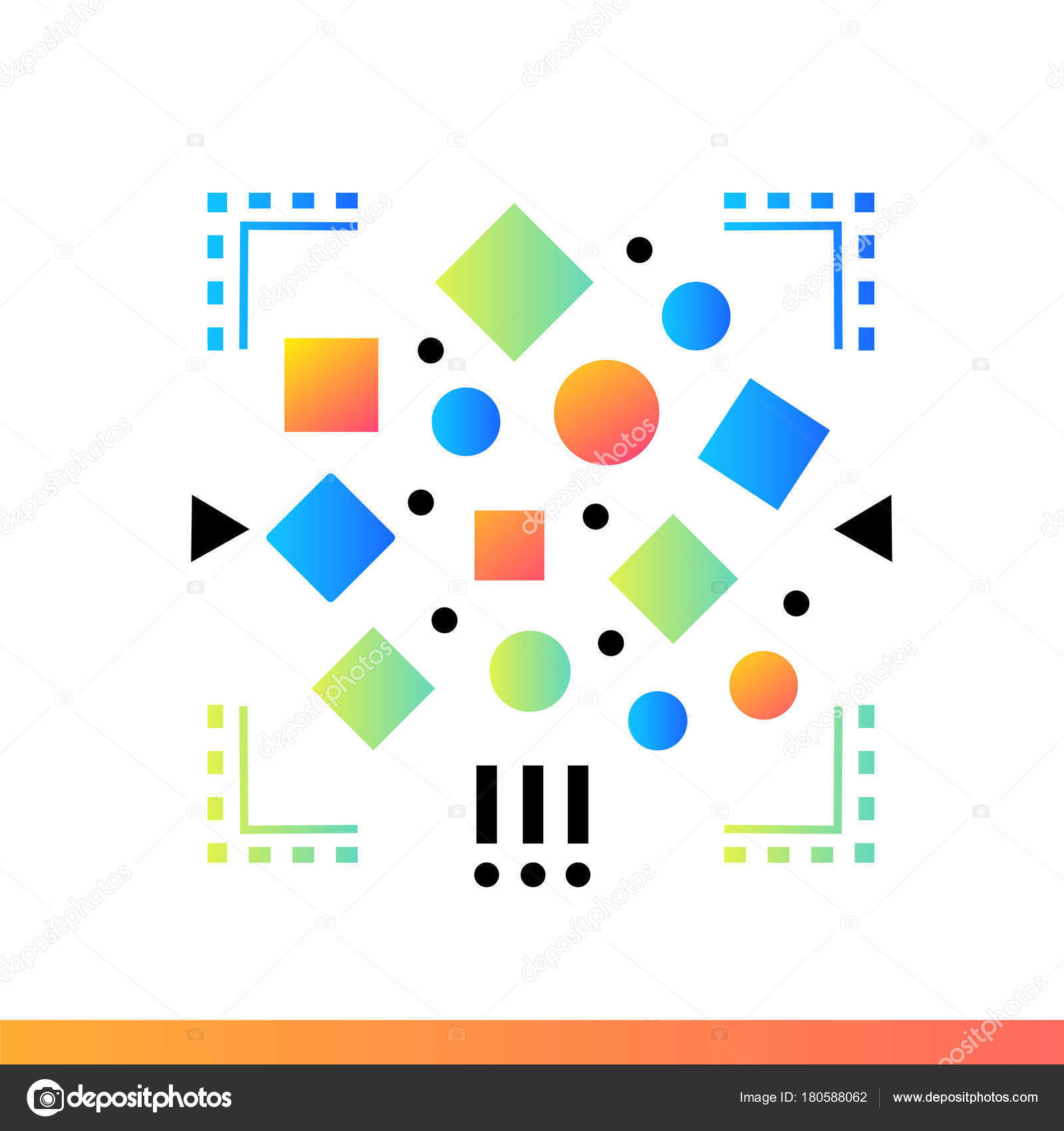 Flat icon Unstructured data. Data science technology and machine — Stock  Vector