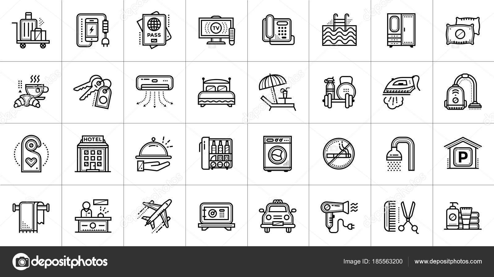 grandes iconos lineales sistema de los servicios del hotel iconos
