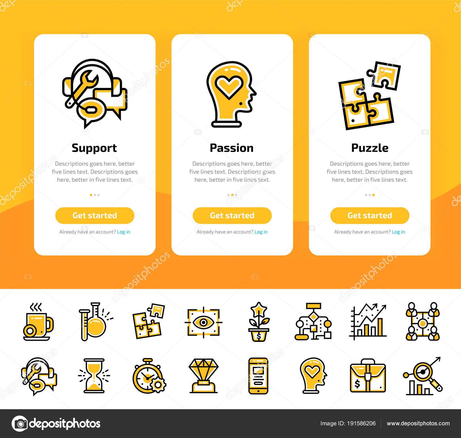 Set de inducción pantallas de la aplicación de los iconos de ...