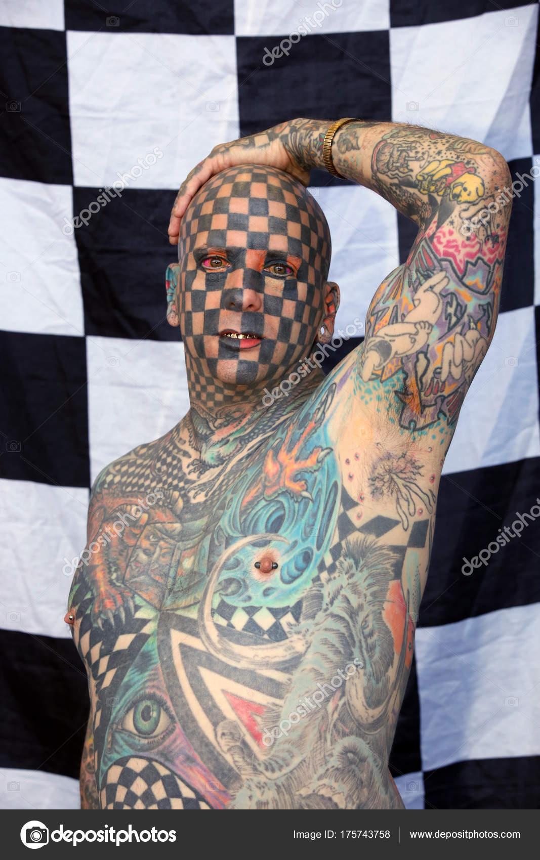 Amsterdam Países Bajos Mayo 2017 Hombre Más Tatuado Del Mundo Foto