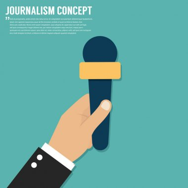 Journalism concept. Microphone, interview