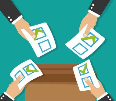 Hands leaving votes