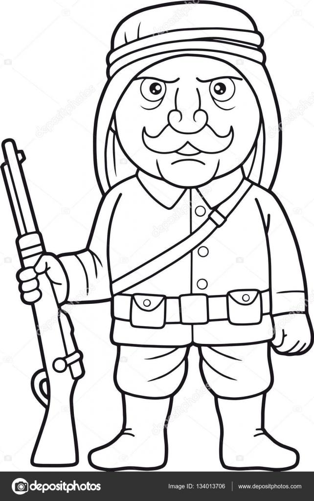 Soldado árabe está de guardia con un fusil en la mano — Archivo ...