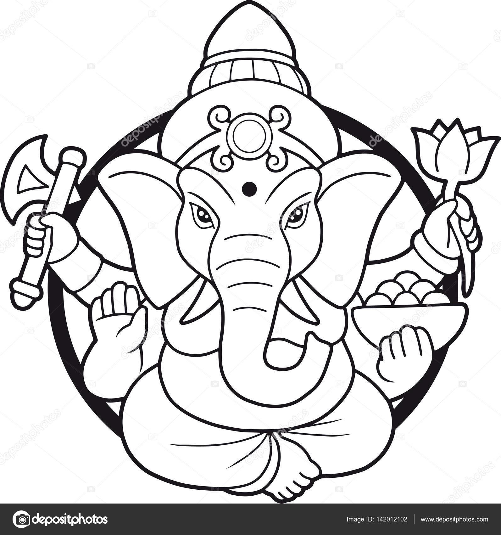 Dios indio emblema Ganesha — Vector de stock © Fargon #142012102