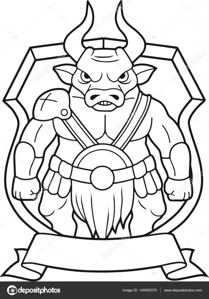 мультфильм рогатый минотавр векторное изображение Fargon