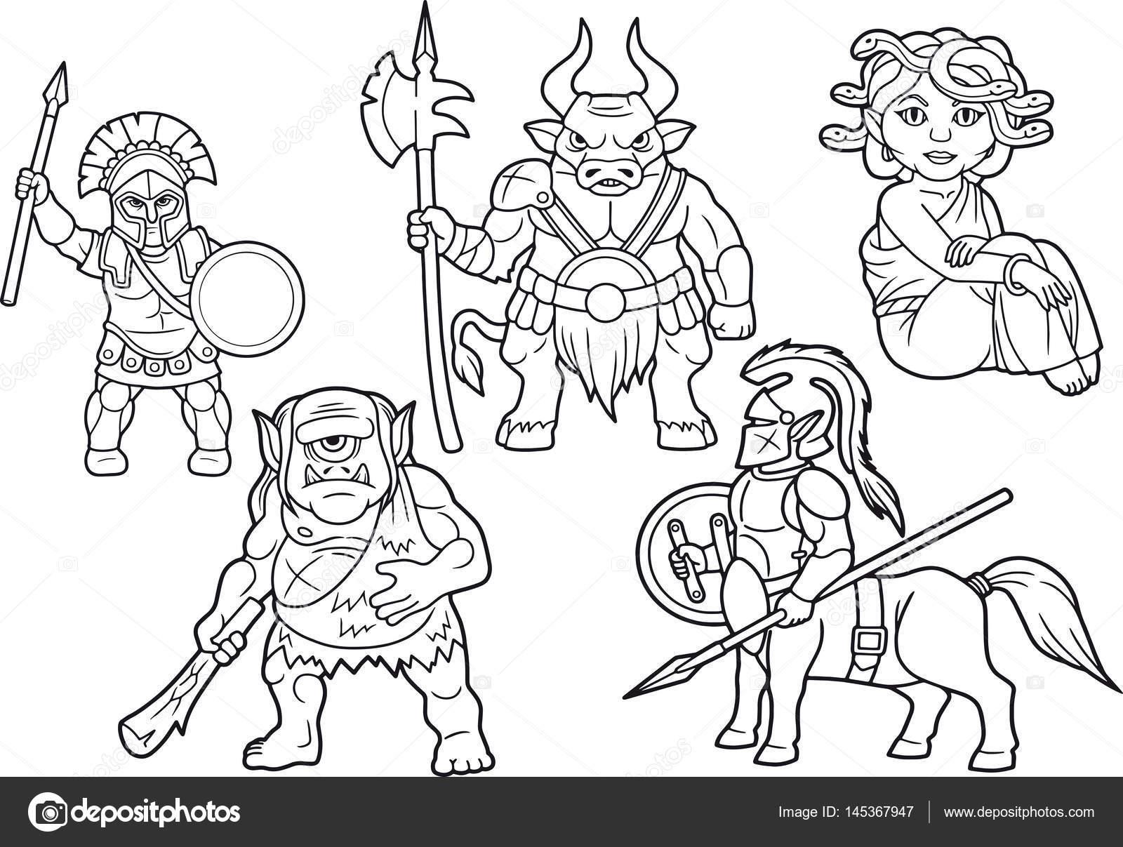 Mitología set de imágenes de dibujos animados — Archivo Imágenes ...