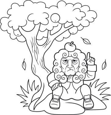 Newton sits under the apple tree