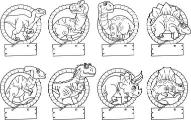 funny dinosaurs, set of images