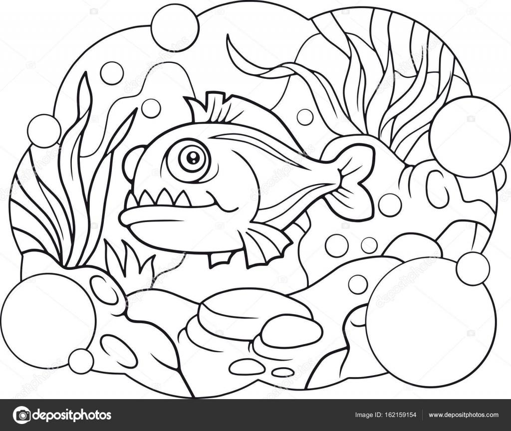 cartoon piranha, coloring book — Stock Vector © Fargon #162159154
