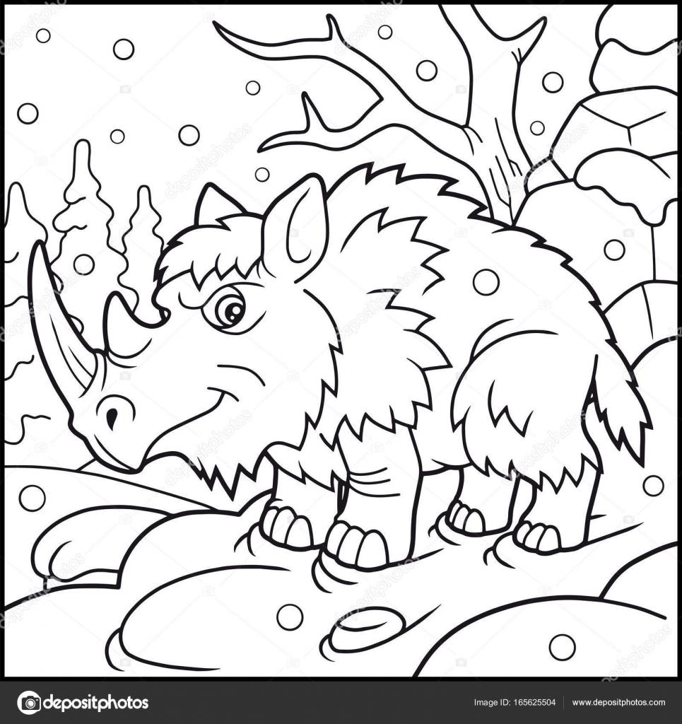 libro de colorear rinoceronte lanudo — Vector de stock © Fargon ...