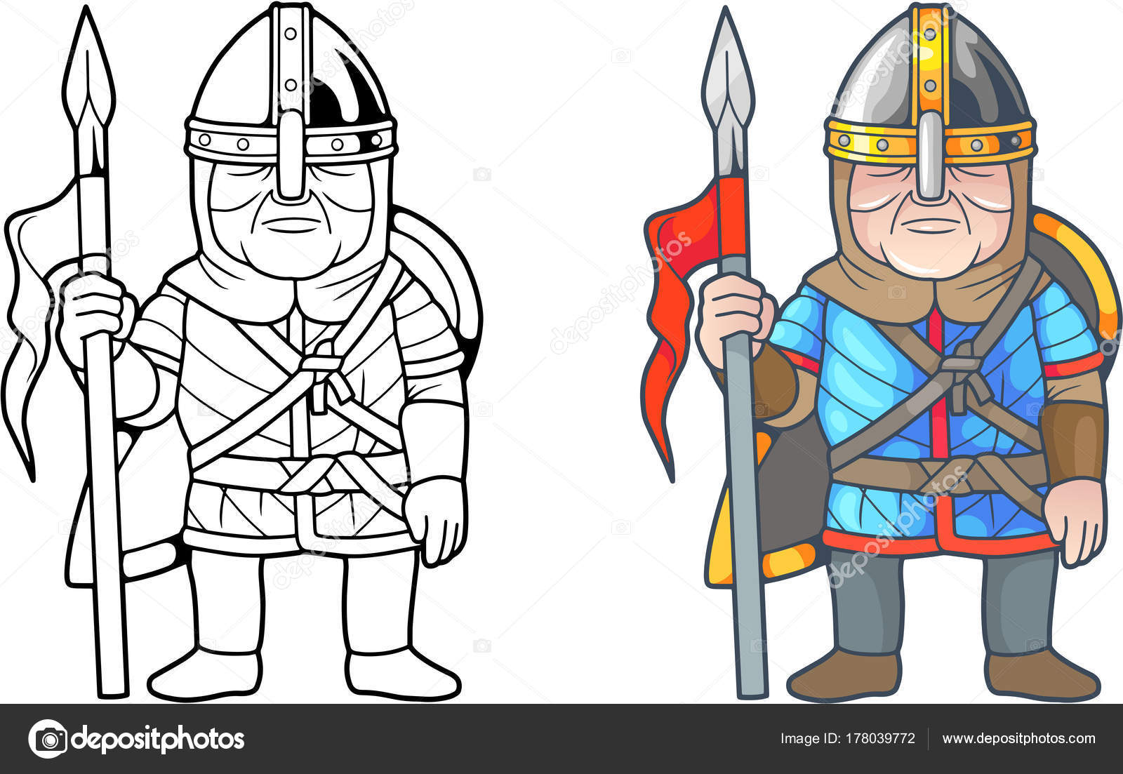 mittelalterliche französische Krieger, Malbuch — Stockvektor ...