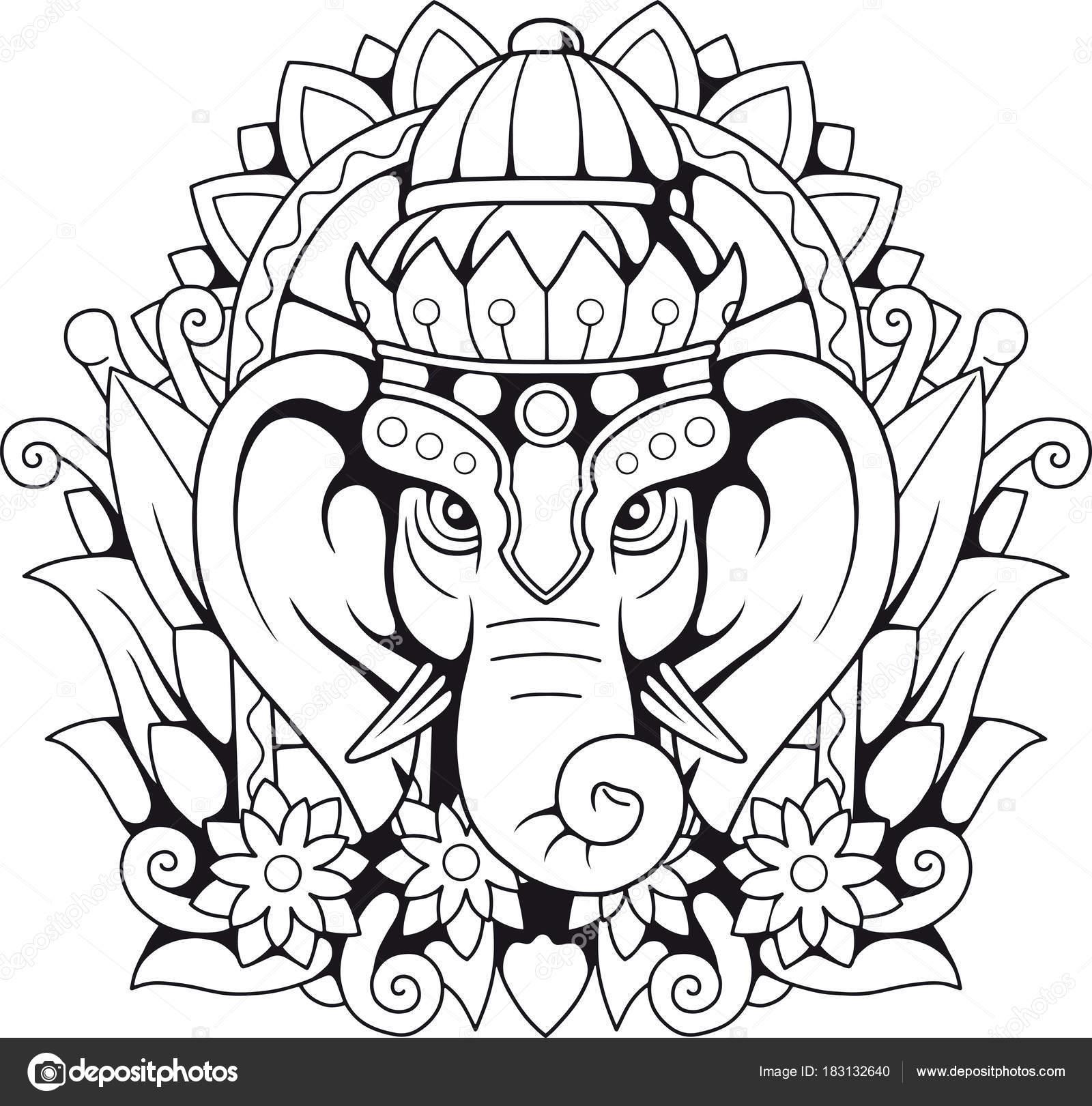 Elefante Del Dios Hindú Ganesha Ilustración — Archivo Imágenes ...