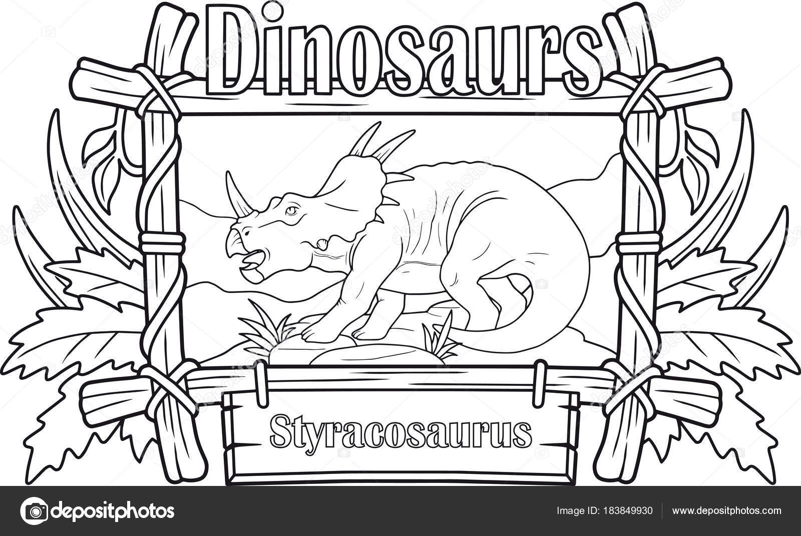 Dinosaurio Prehistórico Styracosaurus Libro Para Colorear — Archivo ...