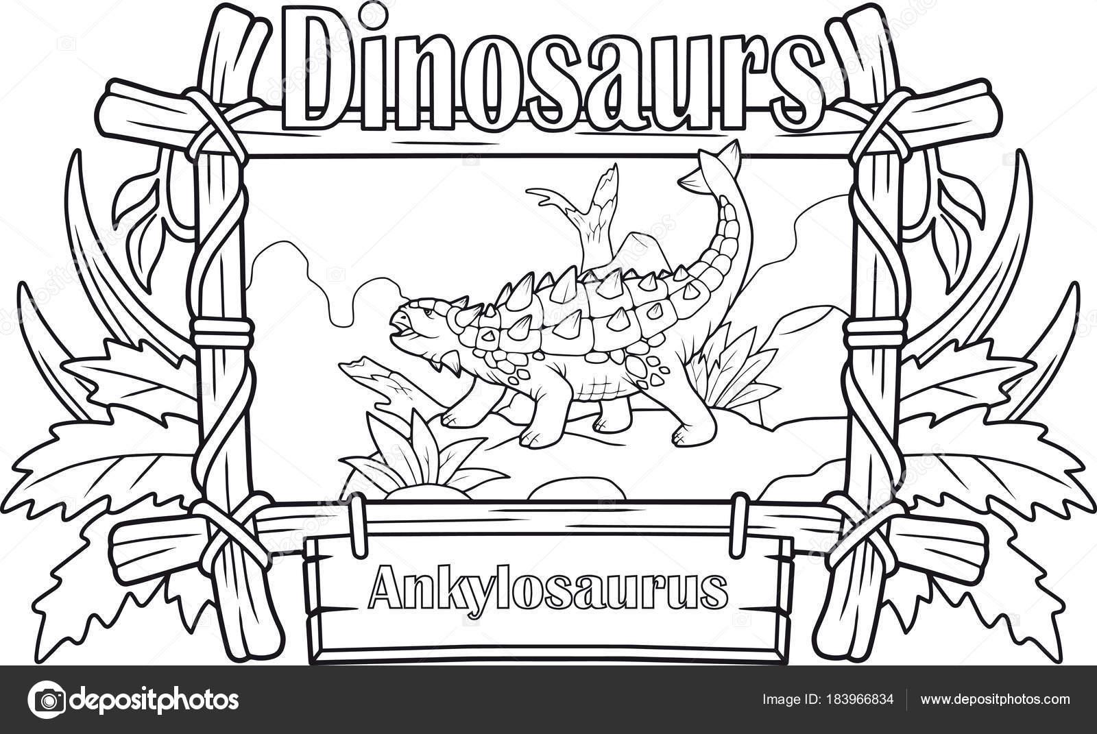 Dinosaurio Prehistórico Ankylosaurus Libro Para Colorear — Archivo ...